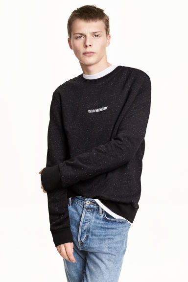 Sweatshirt - Black/Neps - Men | H&M 1