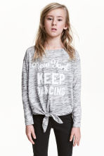 Top with tie-front detail - Grey marl/New York -  | H&M 1