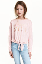 Top with tie-front detail - Light pink -  | H&M CN 1