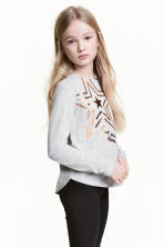 Long-sleeved top - Light grey/Star -  | H&M 1