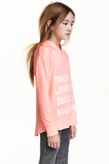 Hooded top with a print motif - Apricot/Cities - Kids | H&M 1