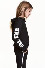 Printed hooded top - Black - Kids | H&M 1