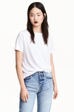Cotton-blend T-shirt - White - Ladies | H&M 2