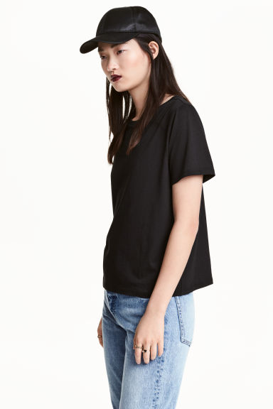 Cotton-blend T-shirt - Black - Ladies | H&M 1