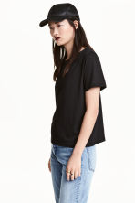 Cotton-blend T-shirt - Black - Ladies | H&M CN 1