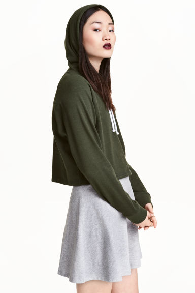 Cropped hooded top - Dark green - Ladies | H&M CN 1