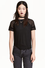 Jersey top - Black/Mesh - Ladies | H&M CN 1