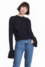 Pattern-knit jumper - Dark blue - Ladies | H&M 1