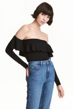Off-the-shoulder top - Black -  | H&M 1