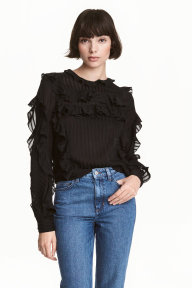 Striped frilled blouse - Black - Ladies | H&M CN 1