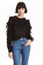 Striped frilled blouse - Black - Ladies | H&M 1