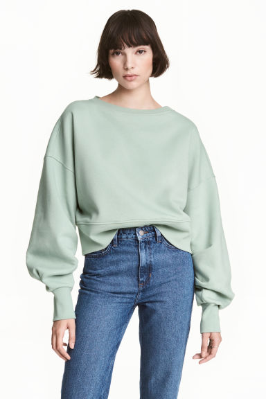 Cropped sweatshirt - Mint green - Ladies | H&M 1