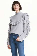 荷葉邊上衣 - Light grey marl -  | H&M 1