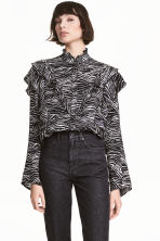 Patterned frilled blouse - Zebra print -  | H&M 1