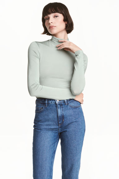 Polo-neck top - Mint green -  | H&M 1