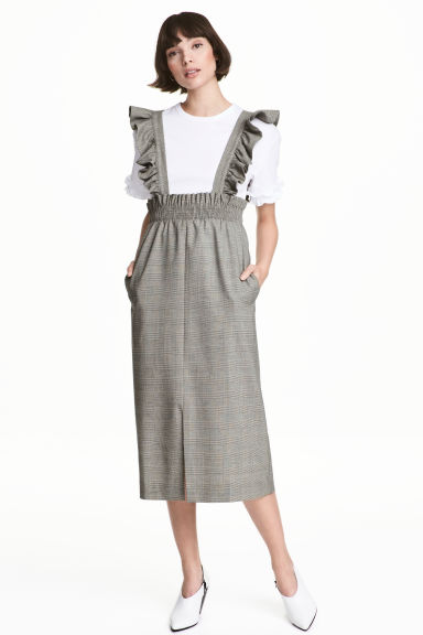 Pinafore dress with frills - Grey/Checked - Ladies | H&M