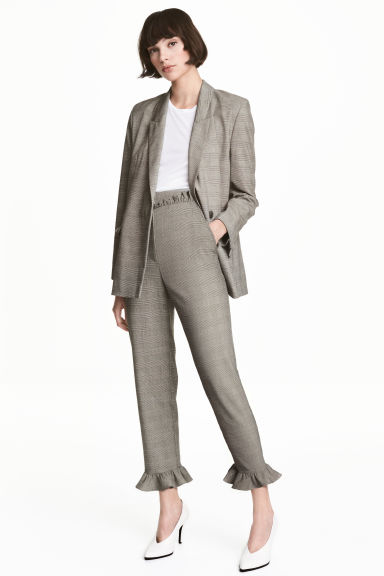 Trousers with frills - Grey/Checked - Ladies | H&M CN 1
