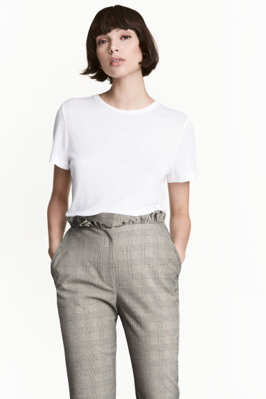 Silk-blend top - White - Ladies | H&M CN 1