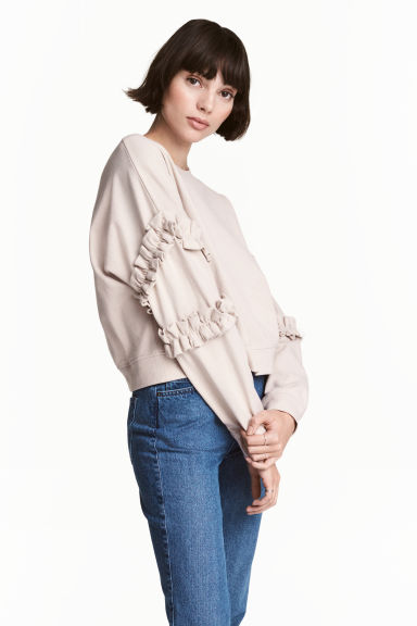 Sweatshirt with frills - Light beige - Ladies | H&M 1