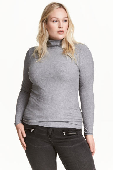 Ribbed polo-neck top - Grey marl - Ladies | H&M