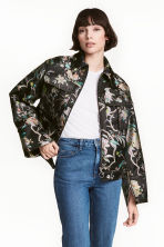 Wide jacket - Black/Floral - Ladies | H&M 1