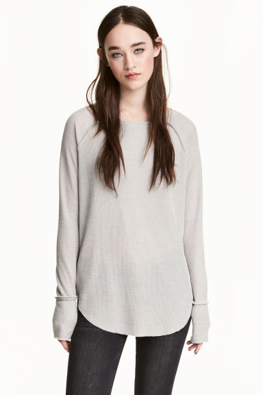 Waffled jersey top - Grey - Ladies | H&M 1