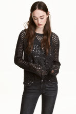 Mesh-knit jumper - Black - Ladies | H&M CN 1