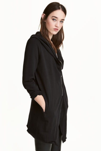 Hooded sweatshirt cardigan - Black - Ladies | H&M 1