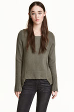 Rib-knit jumper - Khaki green - Ladies | H&M 1
