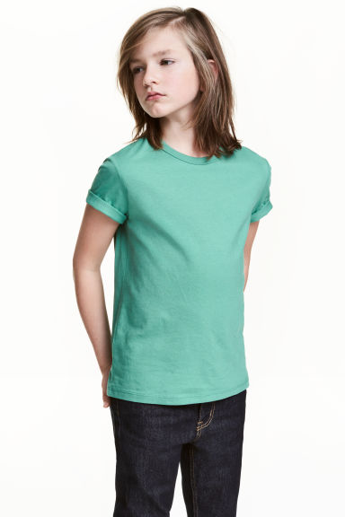 Cotton T-shirt - Green -  | H&M 1