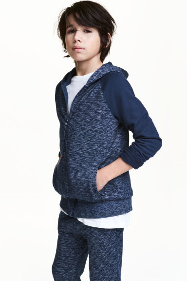 Hooded jacket - Dark blue marl - Kids | H&M CN 1