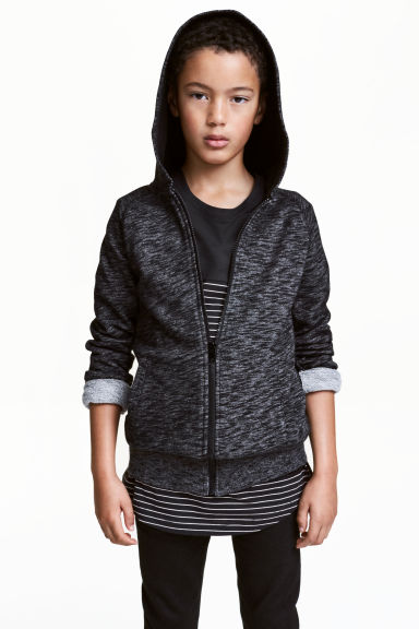 Hooded jacket - Black marl - Kids | H&M