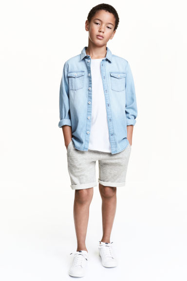 Sweatshirt shorts - Light grey marl - Kids | H&M 1