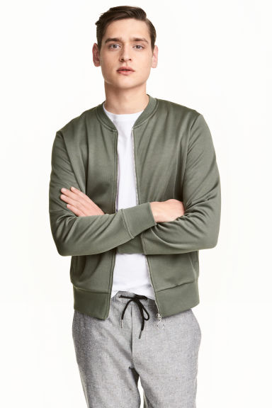 Jersey bomber jacket - Khaki green - Men | H&M 1