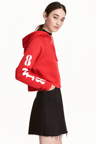Short hooded top - Red - Ladies | H&M CN