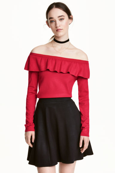 Off-the-shoulder jumper - Red - Ladies | H&M CN 1