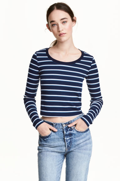 Cropped top - Dark blue - Ladies | H&M CN 1
