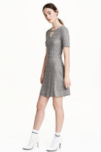 Ribbed jersey dress - Grey marl - Ladies | H&M CN 1