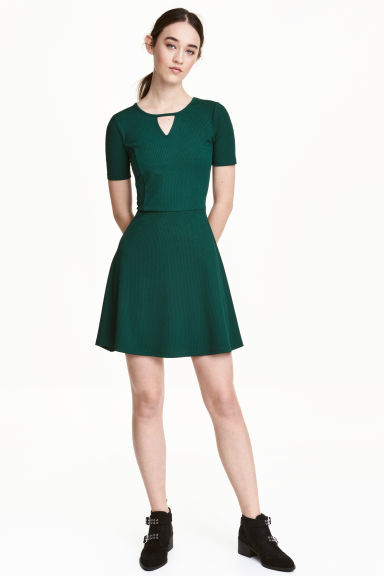 Ribbed jersey dress - Dark green - Ladies | H&M CN 1
