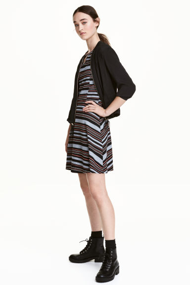 Ribbed jersey dress - Black/Grey/Striped - Ladies | H&M CN 1