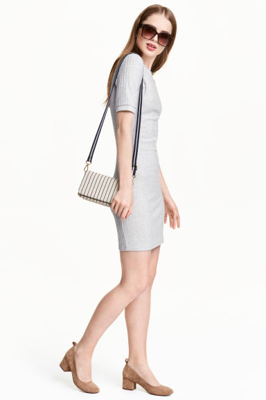 Ribbed jersey dress - Grey marl - Ladies | H&M