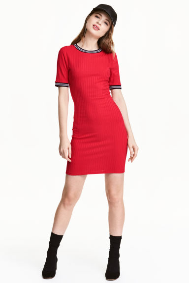 Abito in jersey a coste - Rosso - DONNA | H&M IT 1