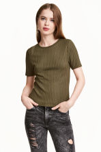 Ribbed top - Olive green - Ladies | H&M 1