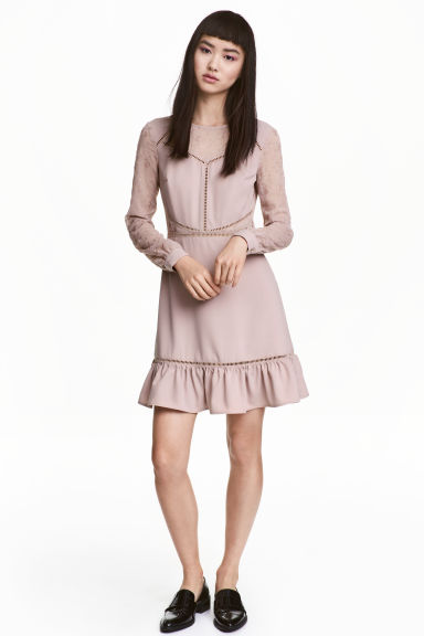 Embroidered dress - Vintage pink - Ladies | H&M 1