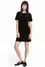 Short velour dress - Black - Ladies | H&M 1