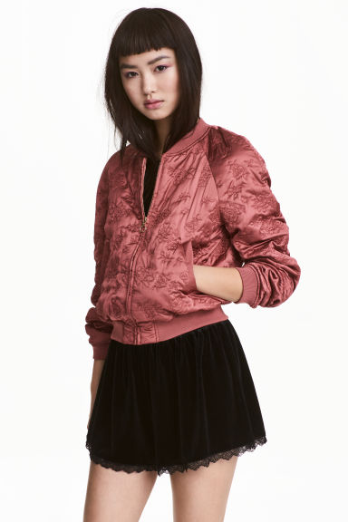 Quilted bomber jacket - Light brick - Ladies | H&M 1
