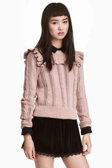 Knitted jumper with a frill - Vintage pink - Ladies | H&M 1