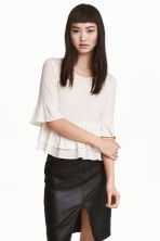 Flounced linen-blend top - Natural white - Ladies | H&M 2