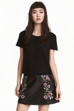 Embroidered skirt - Black/Roses - Ladies | H&M GB 1