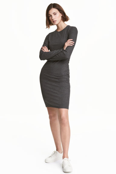 Ribbed jersey dress - Dark grey marl -  | H&M 1